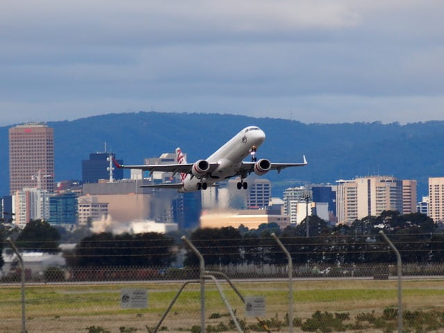 Plane taking off, Adelaide Airport car hire