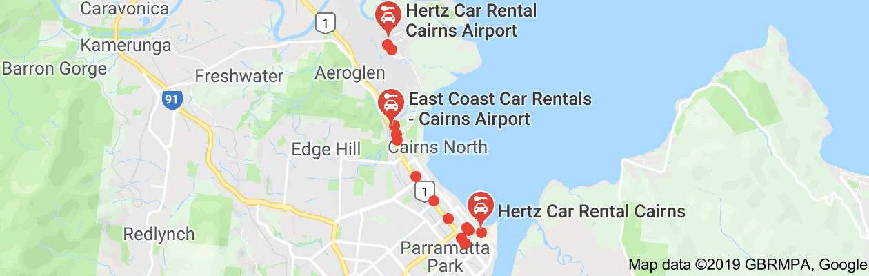Rent a Car in Cairns City CBD -   Pickup Map
