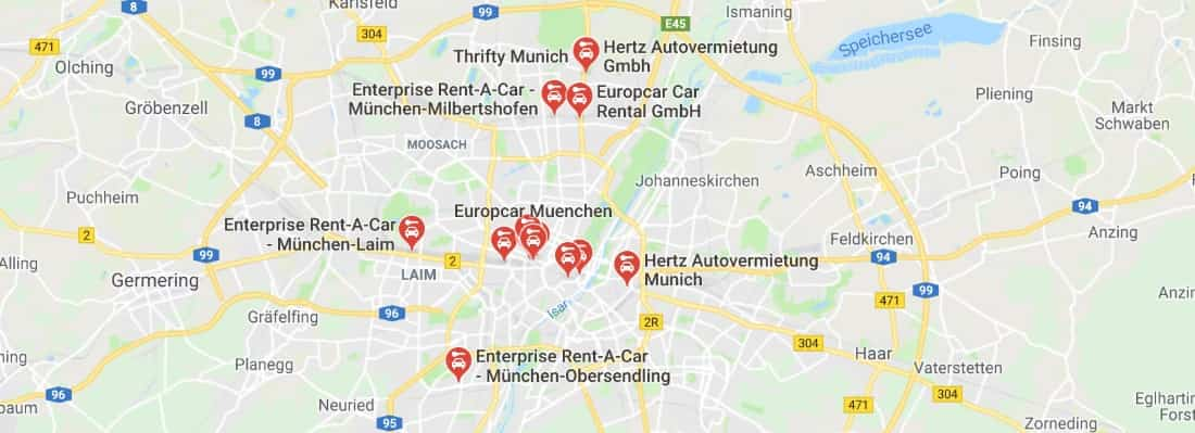 Car hire Munich City Centre Map