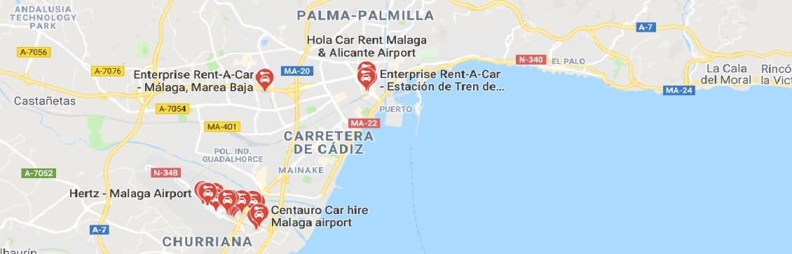 Map of Car-Rental Locations in Malaga